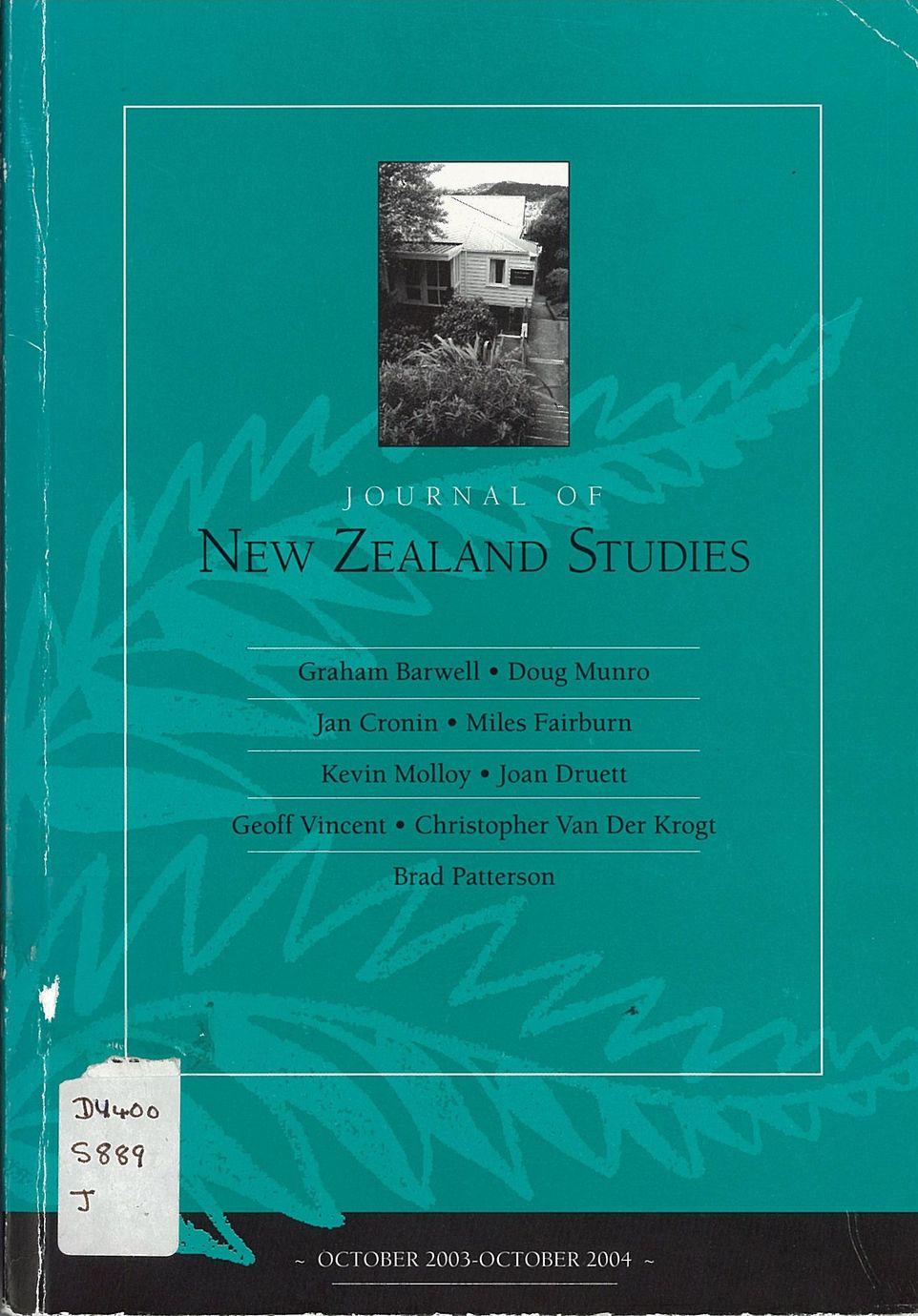 Journal of New Zealand Studies 2004 No. 2/3