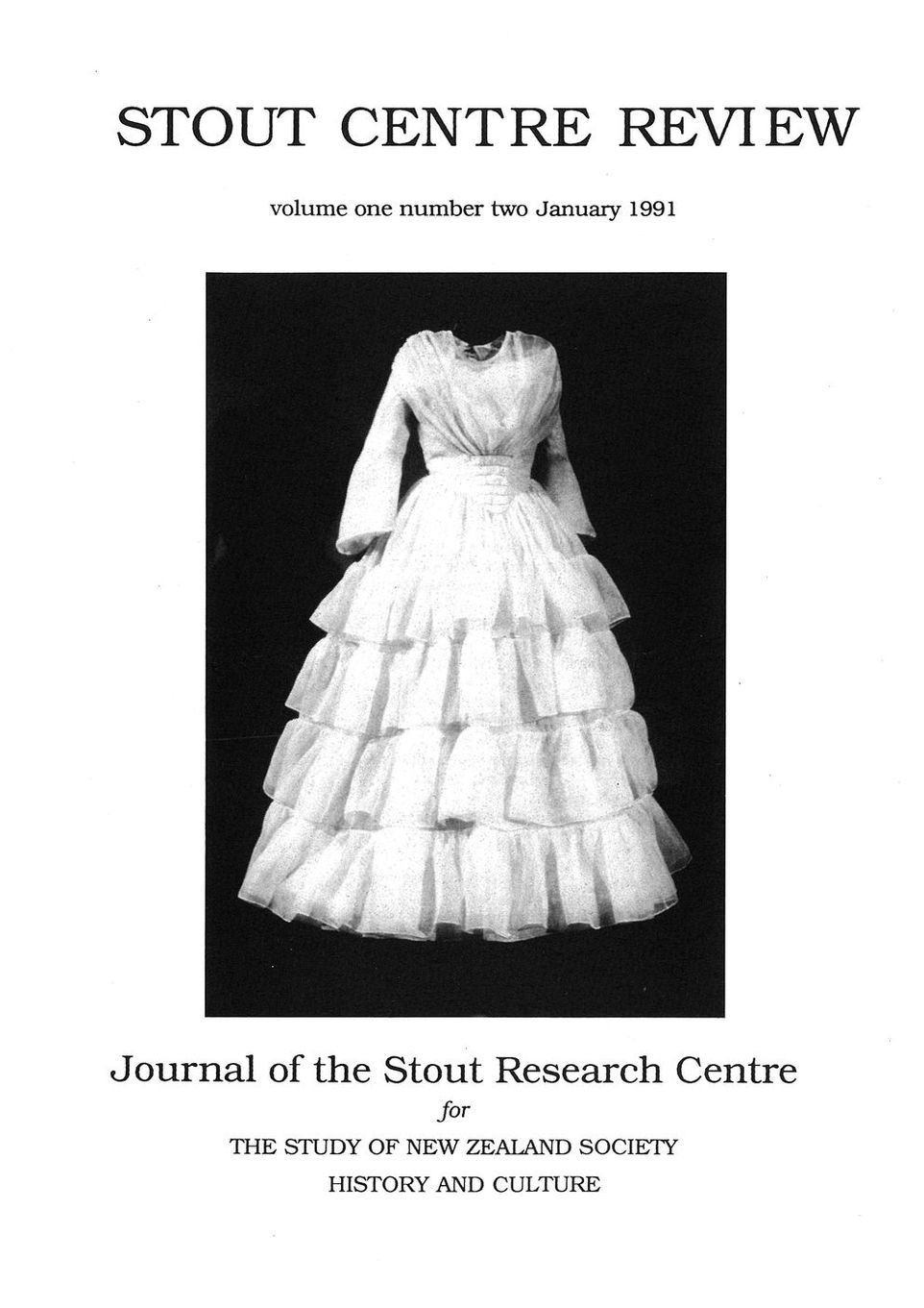 Cover of Stout Centre Review, 1991, V. 1, N. 2.