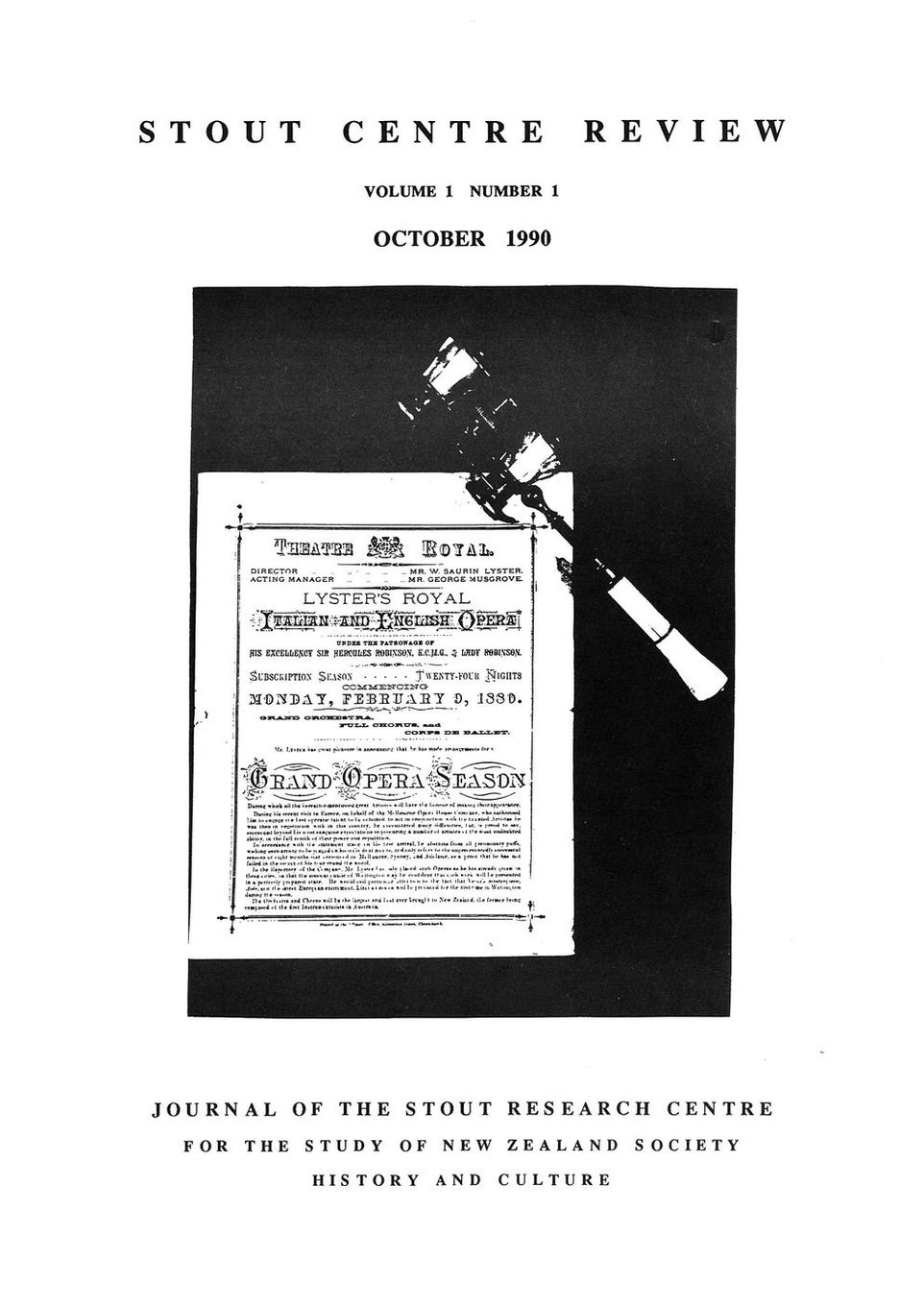 Cover of Stout Centre Review, 1990, V. 1, N. 1.