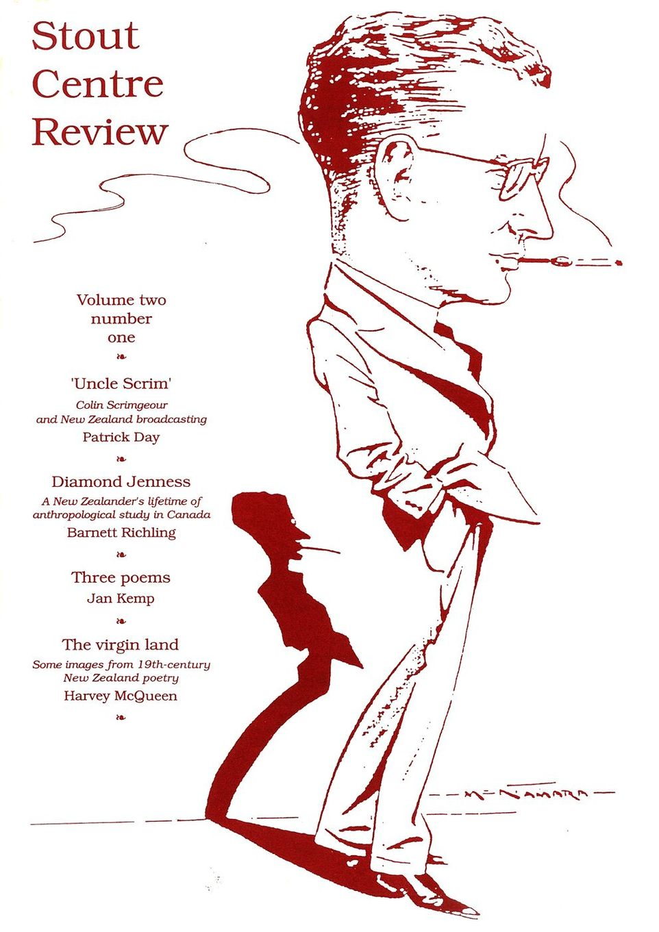 Cover of Stout Centre Review, 1991, V. 2, N. 1.