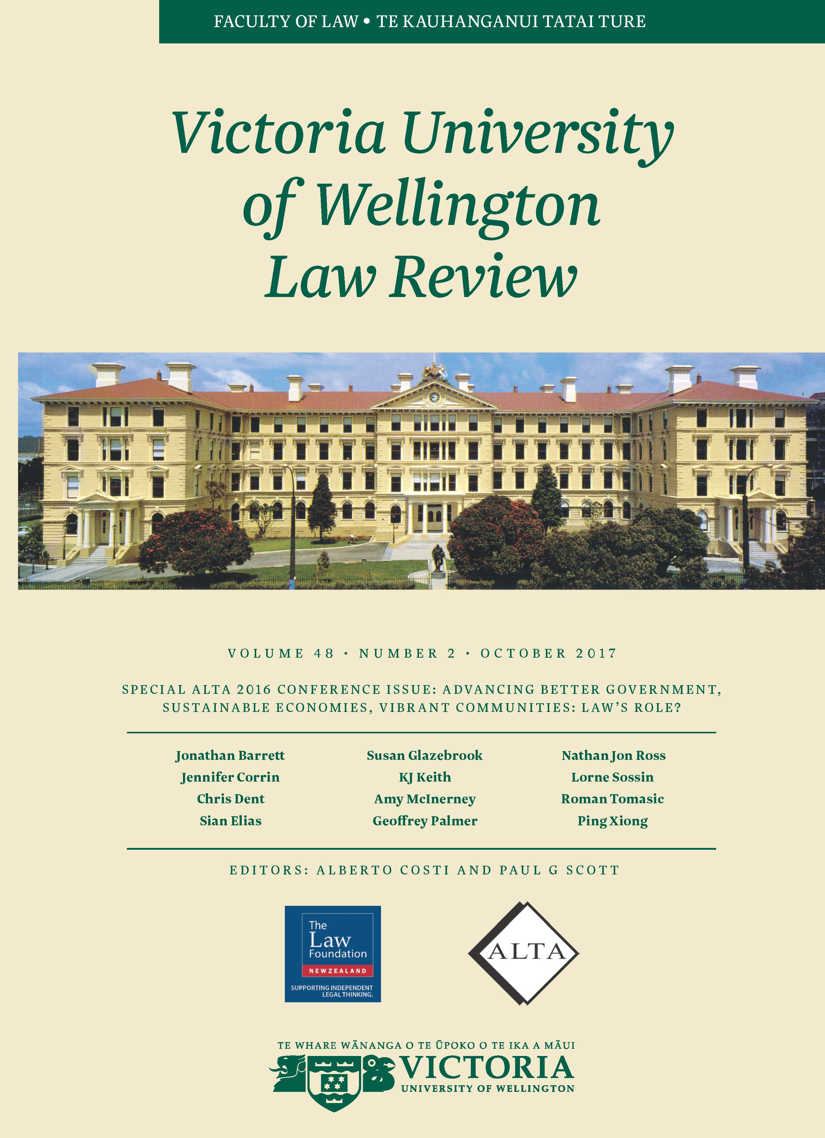 SPECIAL 2016 ALTA CONFERENCE ISSUE: ADVANCING BETTER GOVERNMENT, SUSTAINABLE ECONOMIES, VIBRANT COMMUNITIES: LAW'S ROLE?