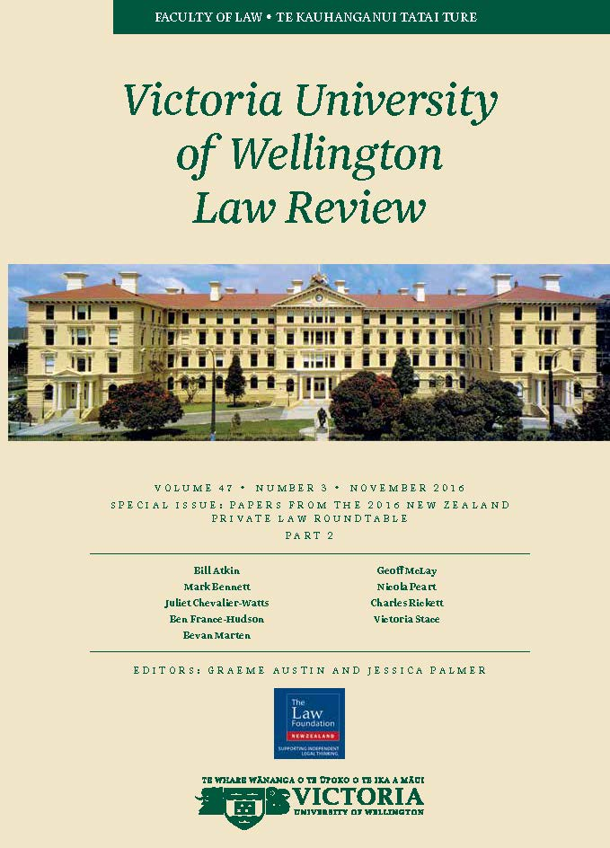 SPECIAL ISSUE: PAPERS FROM THE 2016 NEW ZEALAND  PRIVATE LAW ROUNDTABLE: PART 2