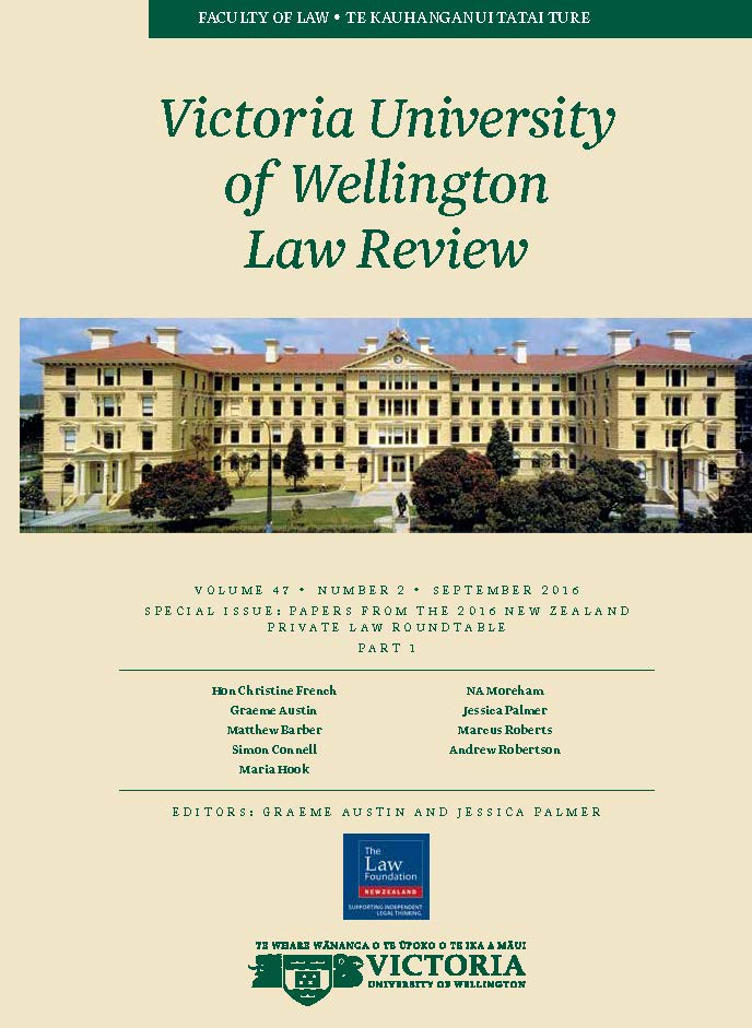 SPECIAL ISSUE: PAPERS FROM THE 2016 NEW ZEALAND PRIVATE LAW ROUNDTABLE: PART 1