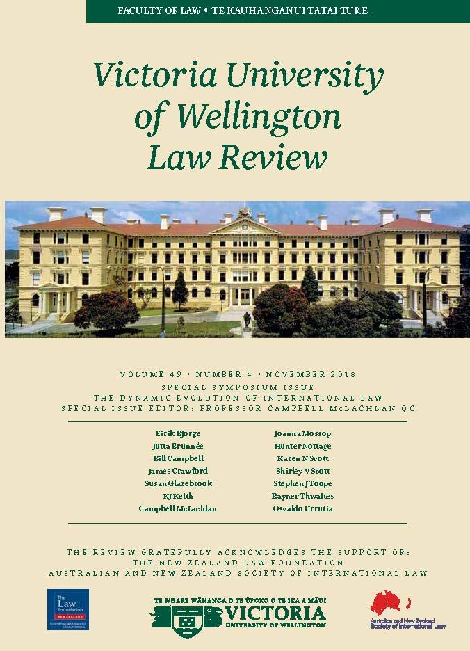 View Vol. 49 No. 4 (2018): Victoria University of Wellington Law Review