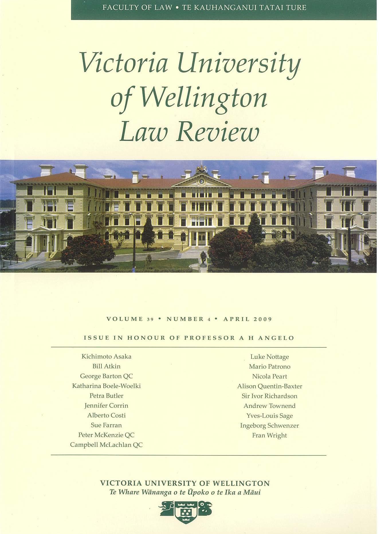View Vol. 50 No. 1 (2019): Victoria University of Wellington Law Review