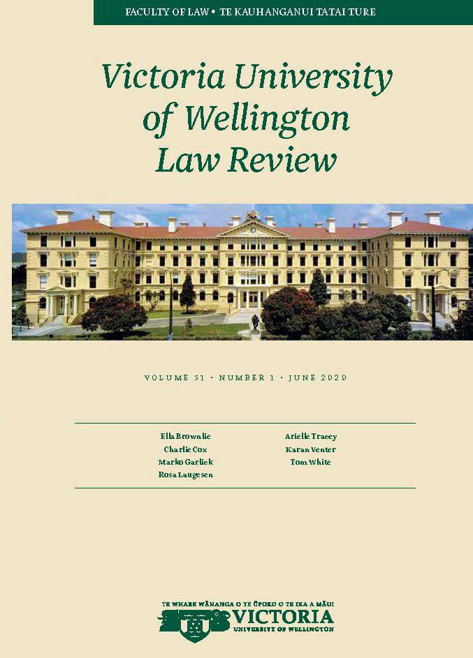 View Vol. 51 No. 1 (2020): Victoria University of Wellington Law Review