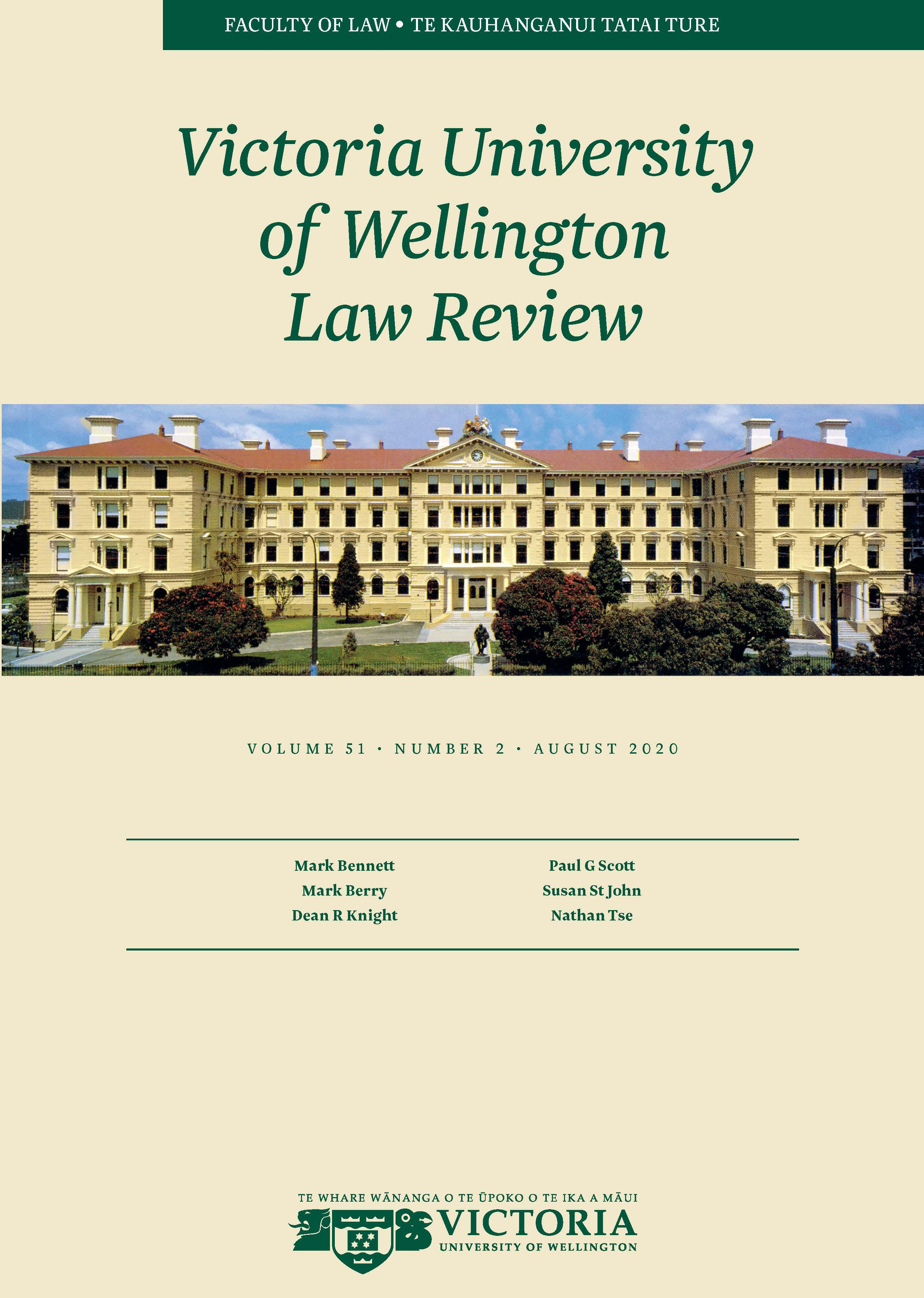 View Vol. 51 No. 2 (2020): Victoria University of Wellington Law Review