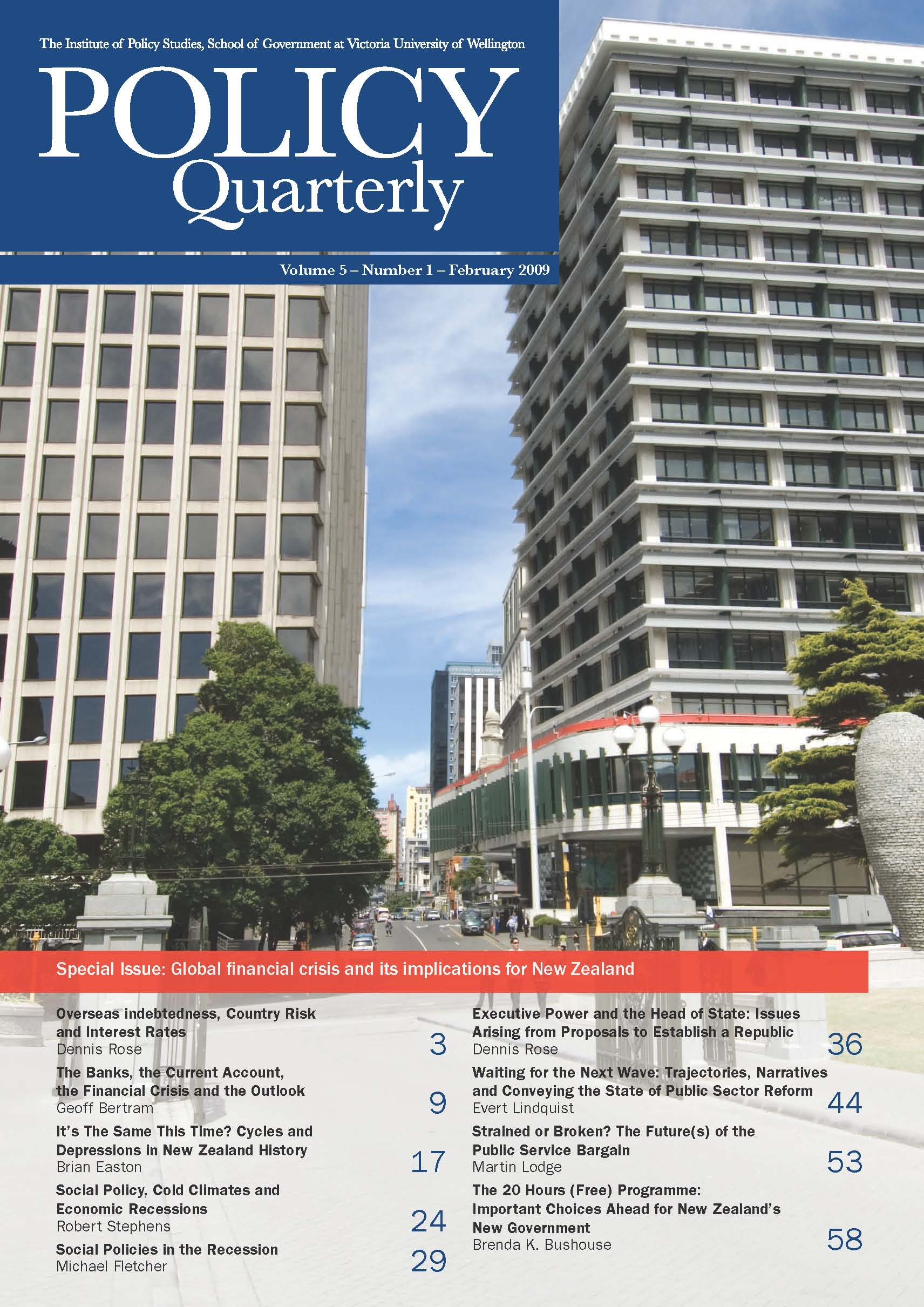 Policy Quarterly volume 5 number 1 2009