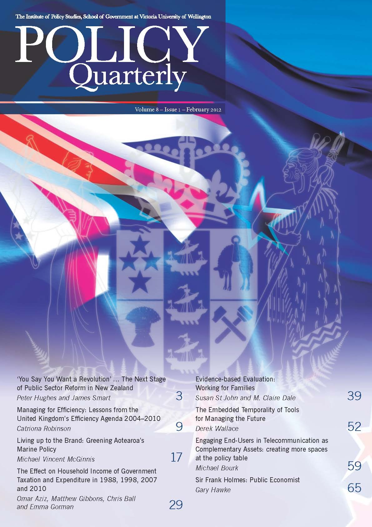 Policy Quarterly volume 8 number 1 2012