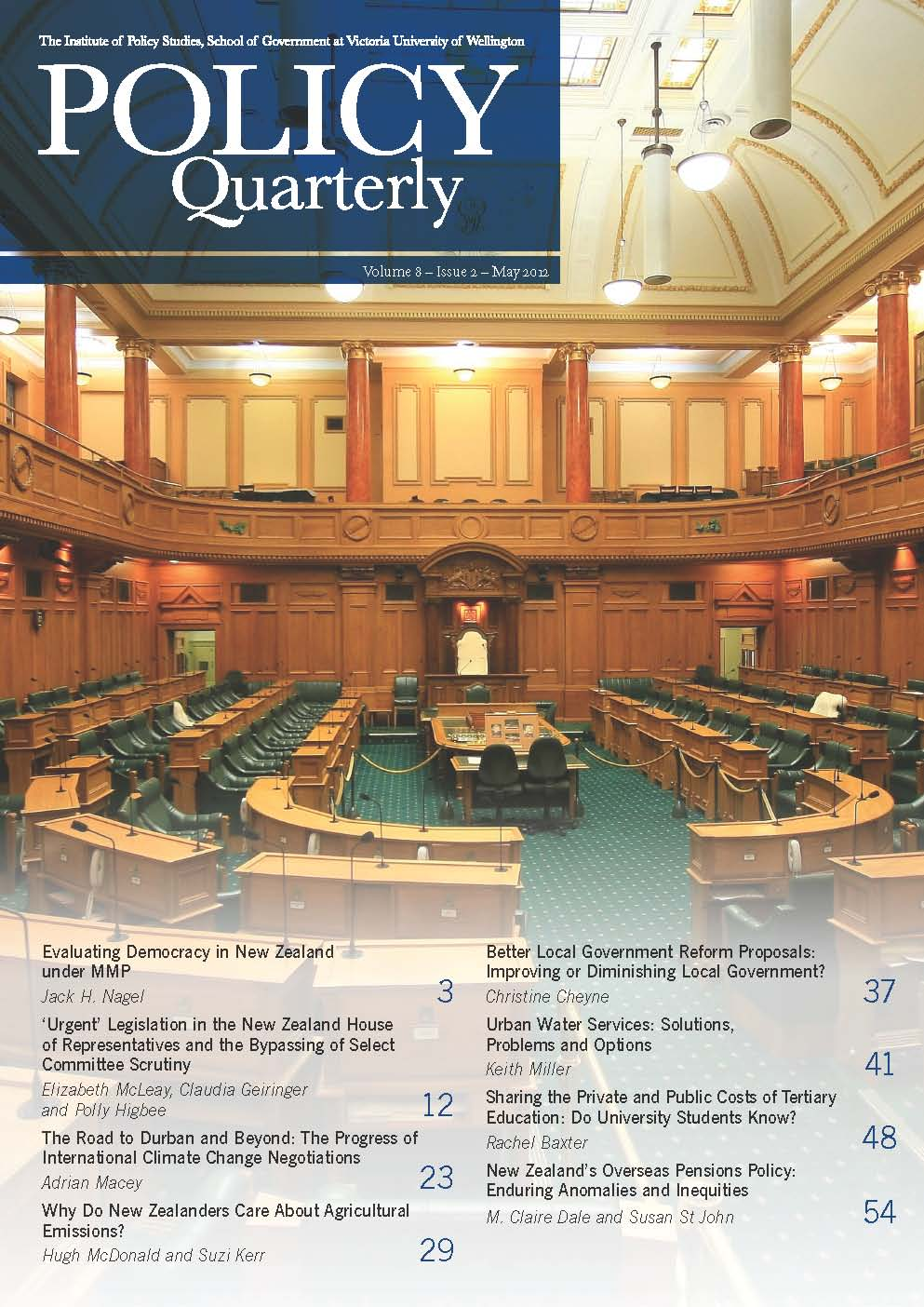 Policy Quarterly volume 8 number 2 2012