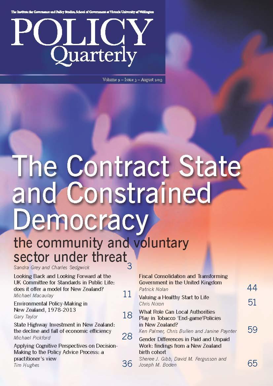Vol 9 No 3 (2013): Policy Quarterly | Policy Quarterly