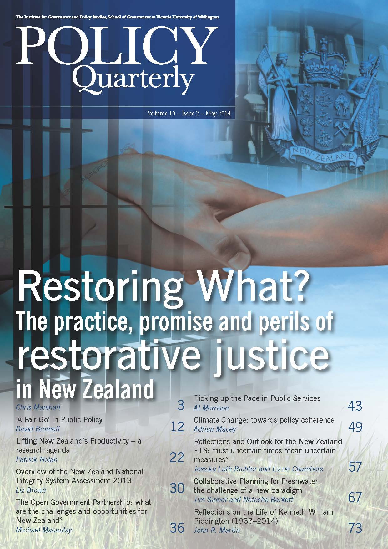 Policy Quarterly volume 10 number 2 2014