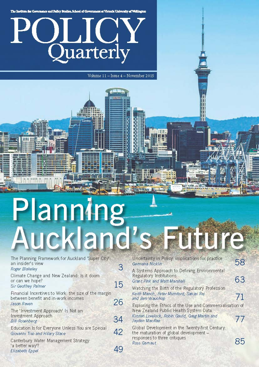 Policy Quarterly volume 11 issue 4 2015