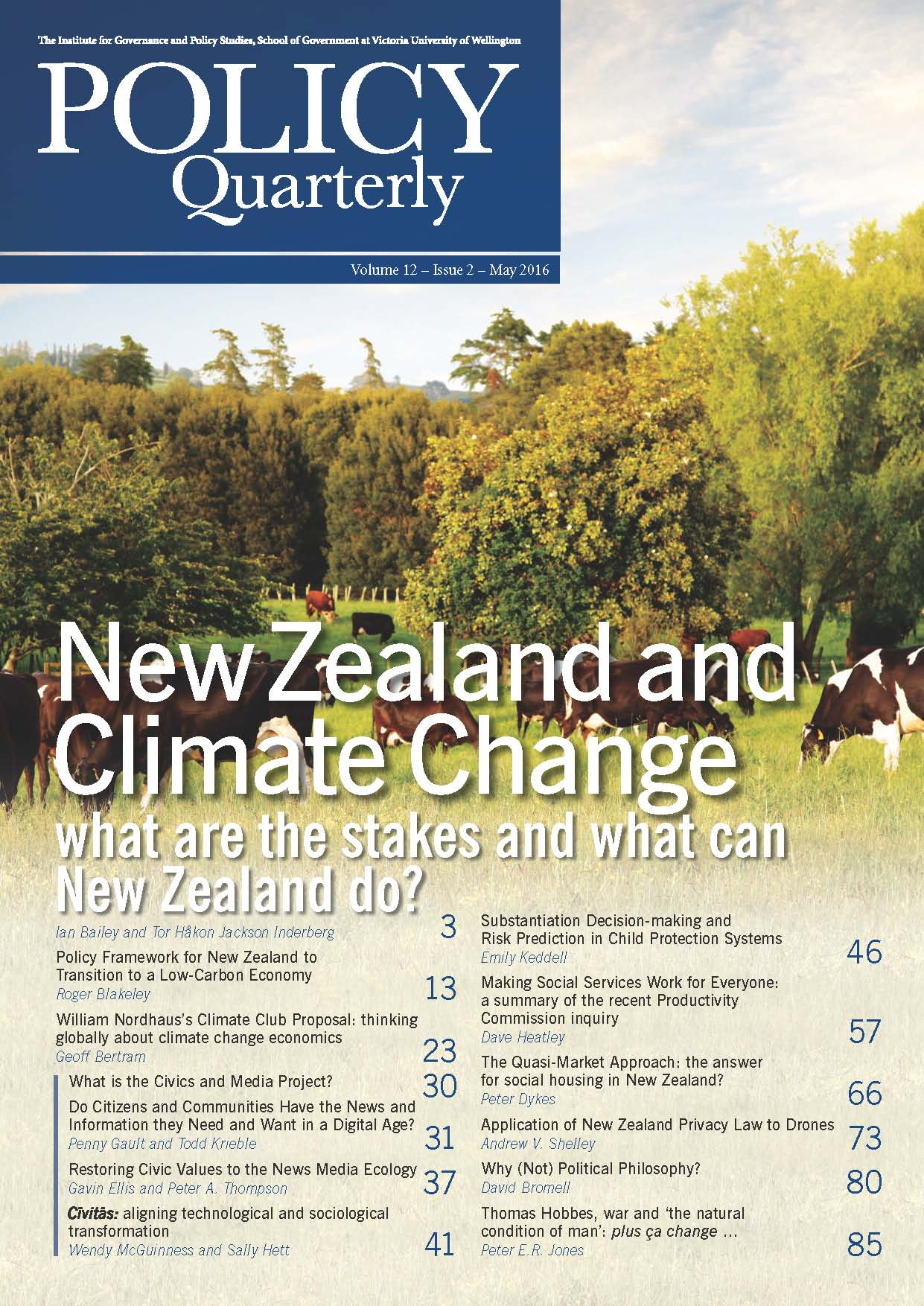 Policy Quarterly volume 12 issue 2 2016