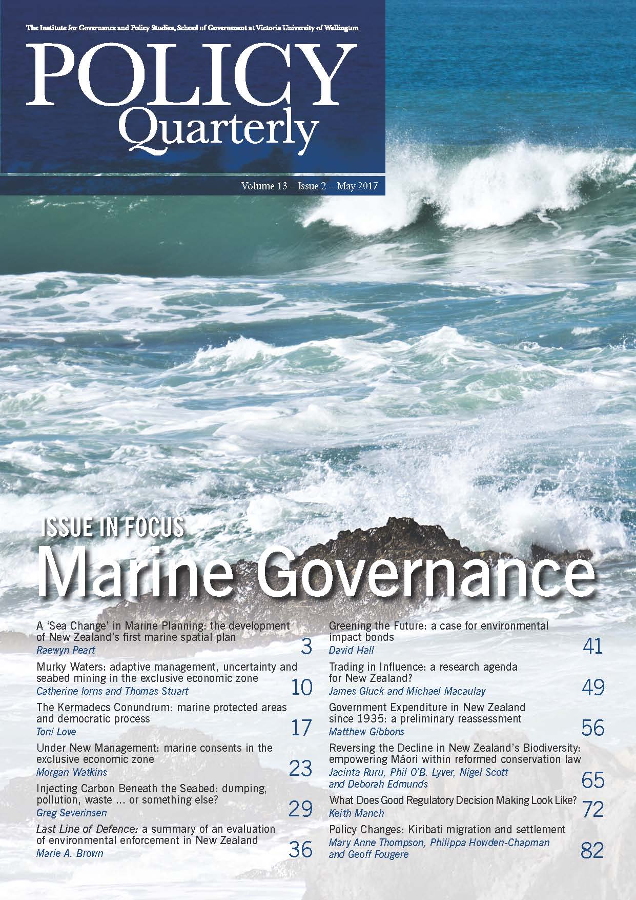 Policy Quarterly volume 13 issue 2 2017