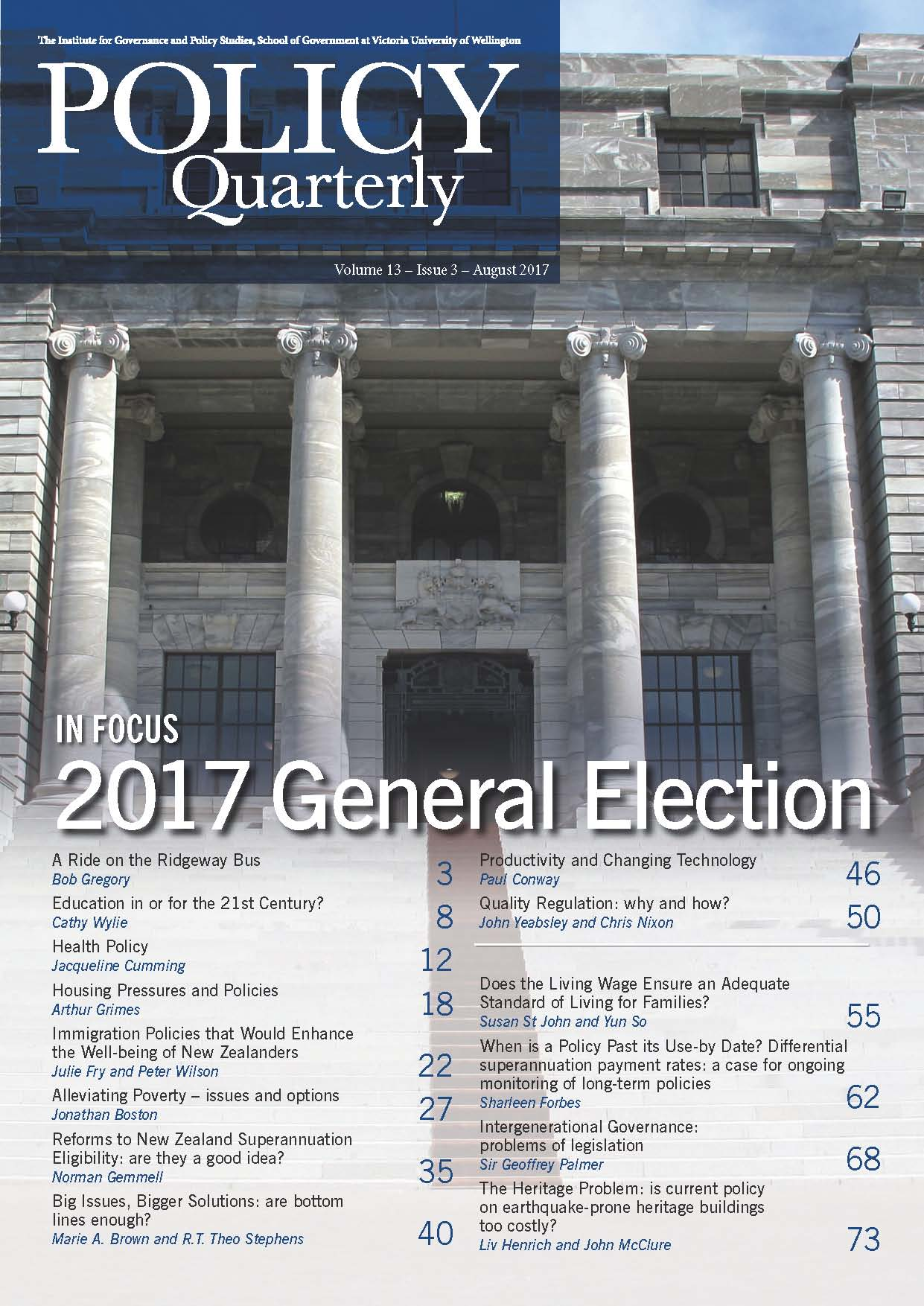 Policy Quarterly volume 13 issue 3 2017