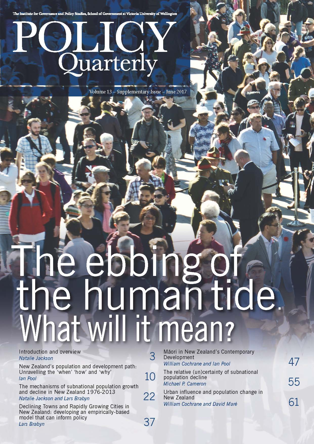 Policy Quarterly volume 13 supplementary issue 2017
