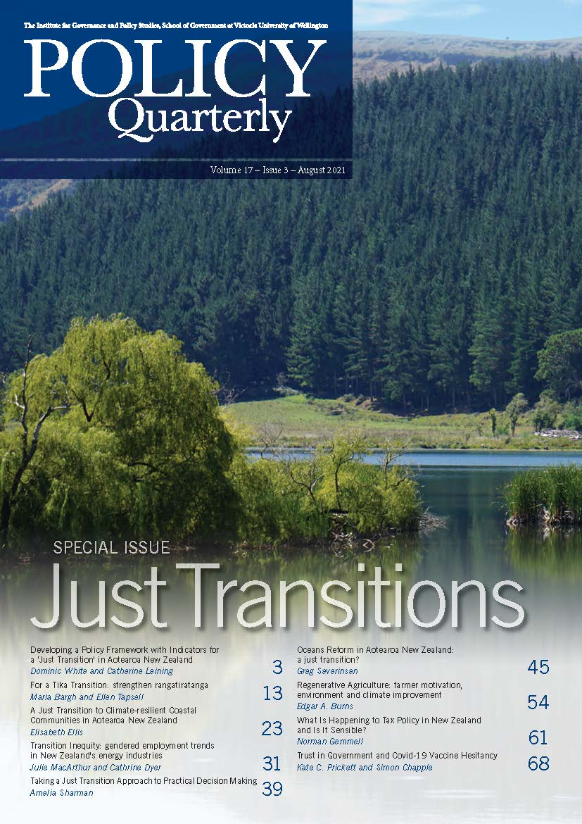 Policy Quarterly Volume 17 Issue 3 Cover